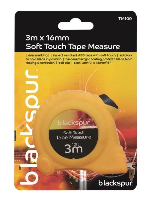 Blackspur 3M x 16mm Soft Touch Tape Measure (TM100)