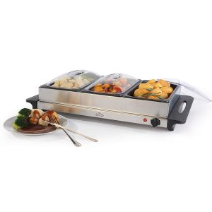 Giles & Posner 3 Pan Buffet Server, 4.5 L, 300 W, Stainless Steel