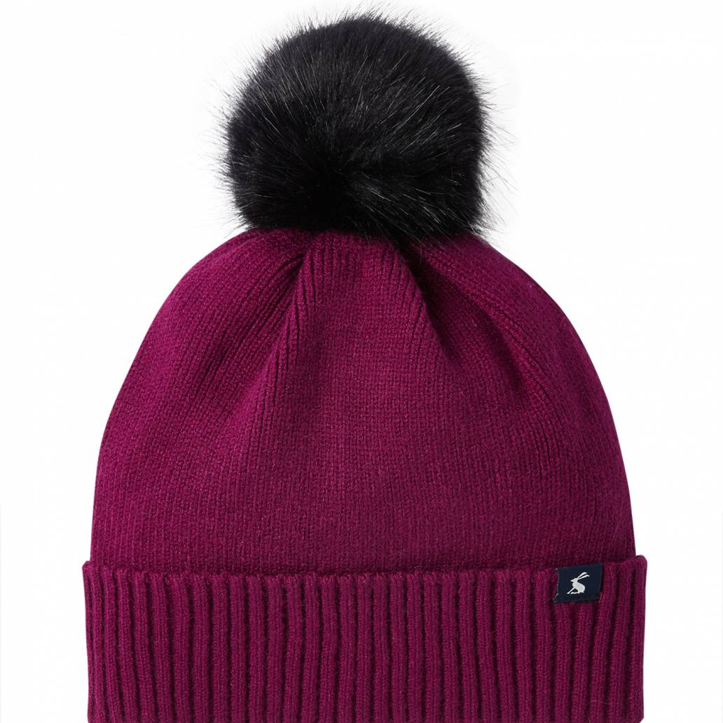 Joules Ladies Snowday Hat Lightweight Knitted Hat - Berry