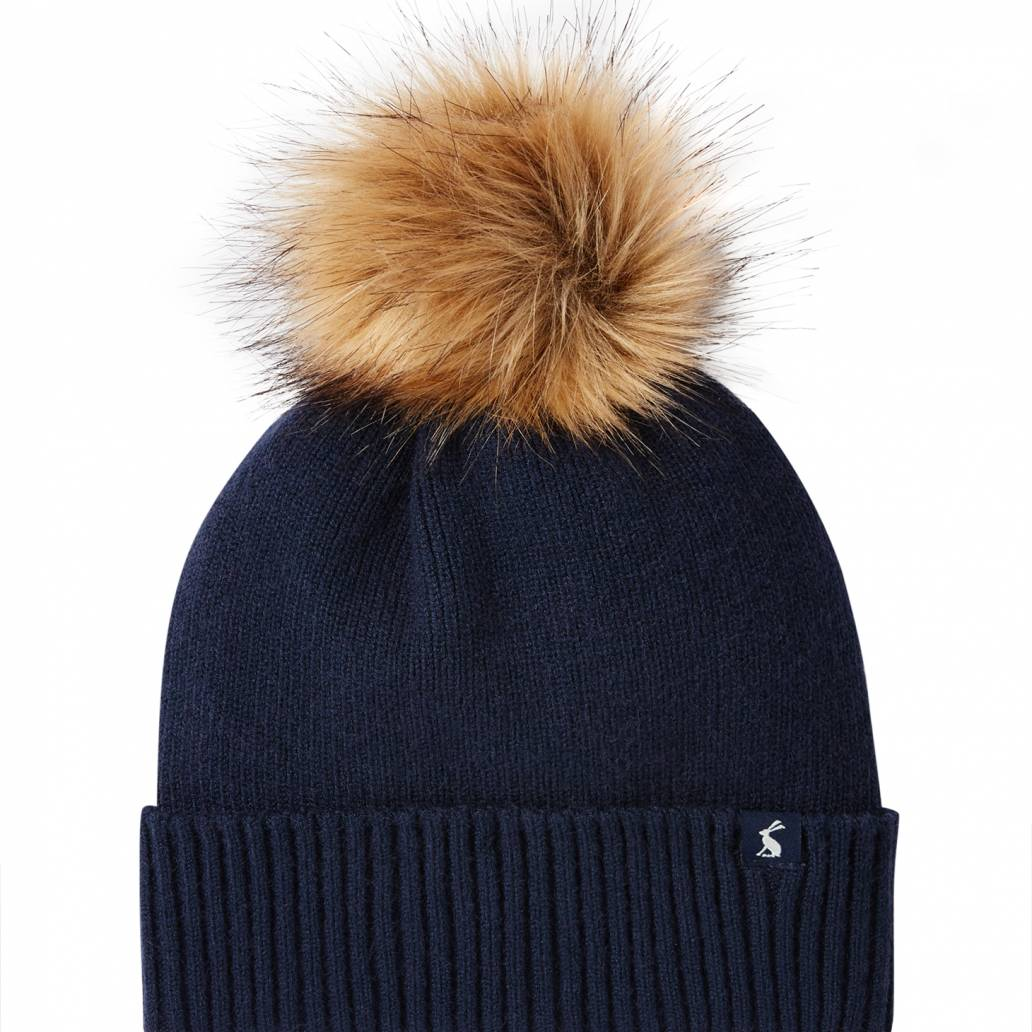 Joules Ladies Snowday Hat Lightweight Knitted Hat - French Navy