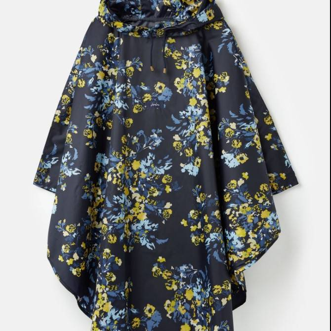 Joules Showerproof Poncho - Navy Gold Floral - One Size