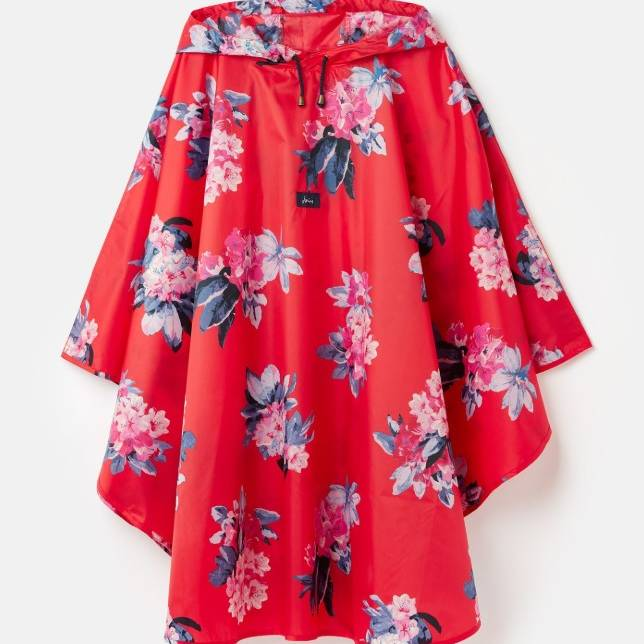 Joules Showerproof Poncho - Floral Red - One Size