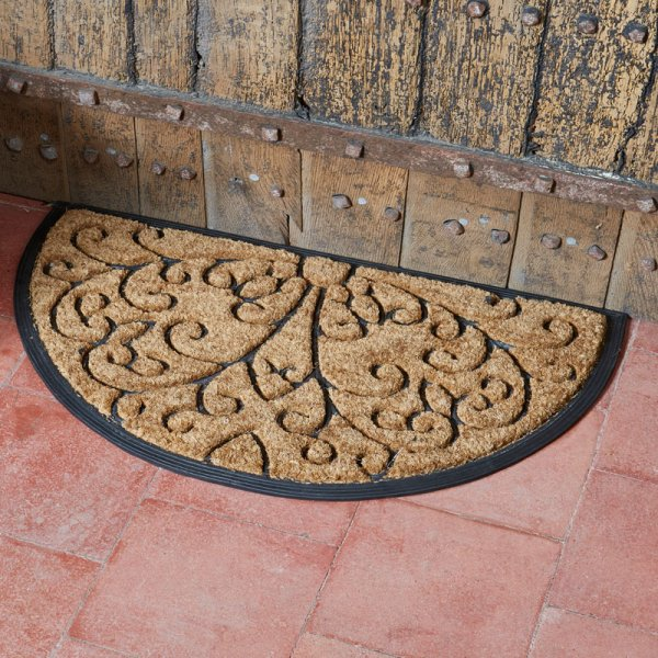 Smart Garden Heavy Duty Coir & Rubber Half Moon Mat - Scroll  75x45cm