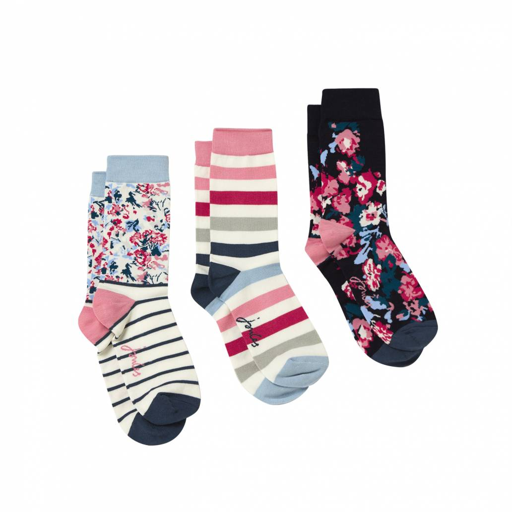 Joules Ladies Brill Bamboo Socks 3 Pack - Blue Multi Floral - UK 4-8