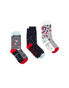 Joules Ladies Brill Bamboo Socks 3 Pack - Navy Love Hearts - UK 4-8