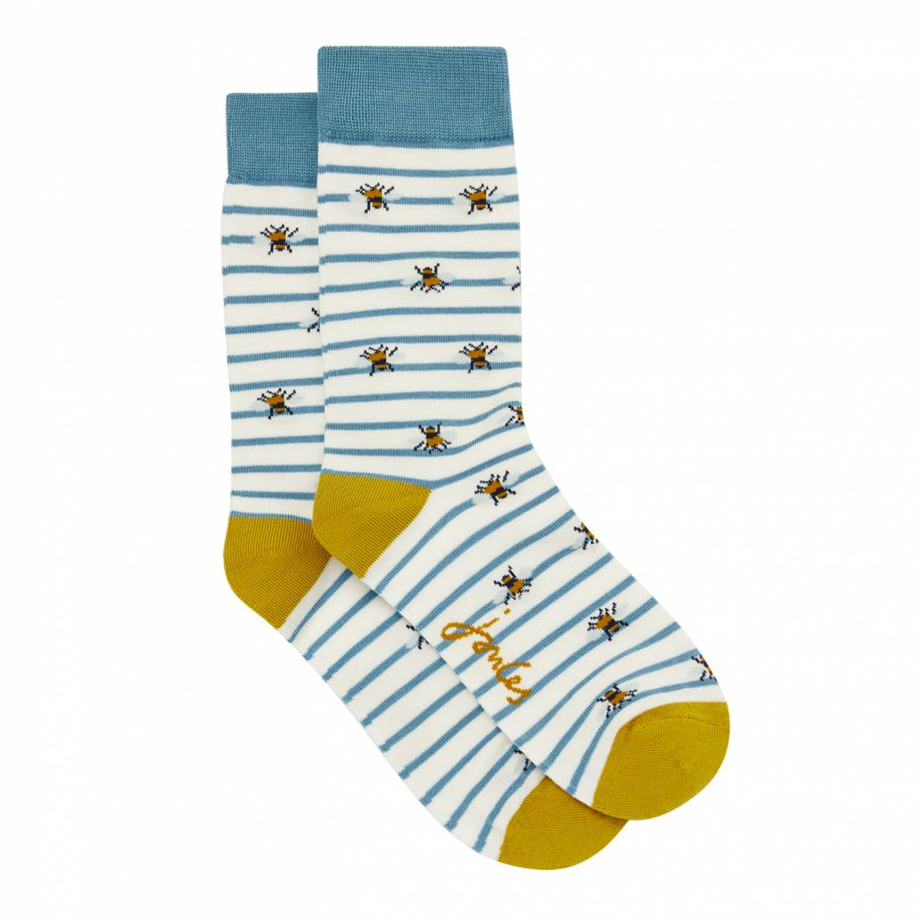 Joules Ladies Brilliant Bamboo Socks - Cream Bee - UK 4-8