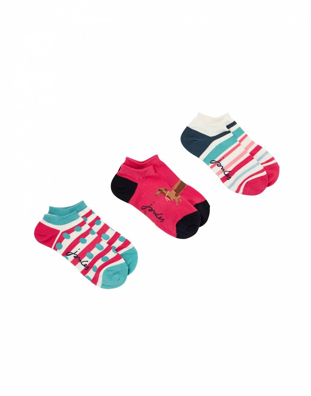 Joules Ladies Rilla Bamboo Ankle Socks - Red Dog Multi - UK 4-8
