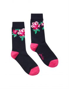 Joules Ladies Brilliant Bamboo Socks - Navy Floral - UK 4-8