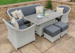 Panama 3 Seat Sofa, Ceramic Top Rectangle Dining Table, 2 Sofa Armchairs & 2 Stools