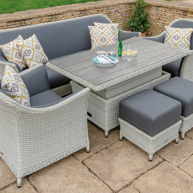 Panama 3 Seat Sofa, Ceramic Top Rectangle Dining Table, 2 Sofa Armchairs & 2 Stools