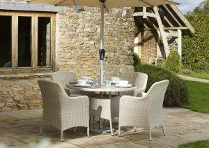 Tetbury 110cm Tree-Free Round Table with 4 Armchairs, Parasol & Base - Nutmeg