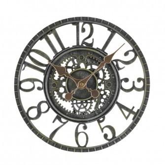 'Newby' Indoor/Outdoor Mechanical Wall Clock - Verdigris