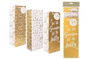 Bottle Gift Bags Gold X 3