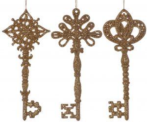 Festive 1 x 15cm Glitter Key Hanging Decoration - Gold