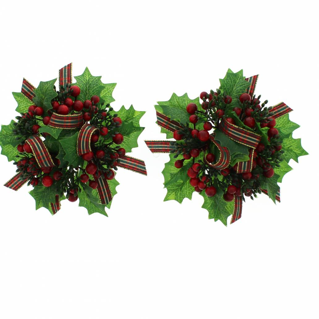 Festive Set Of 2 X 14cm Holly Candle Rings