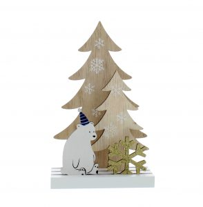 Festive 18cm Wooden Laser Cut Polar Bear