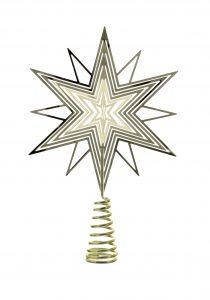 Festive 14cm Gold Metal 3D Tree Top Star
