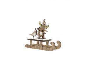Festive 14cm Wooden Reindeer And Robin Sleigh
