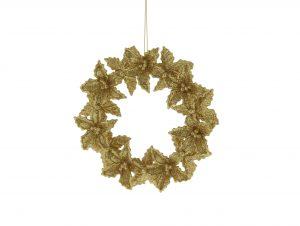 Festive 14cm Gold Glitter Flower Wreath Decoration