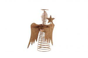 Festive 20cm Angel Glitter Tree Topper - Rose Gold