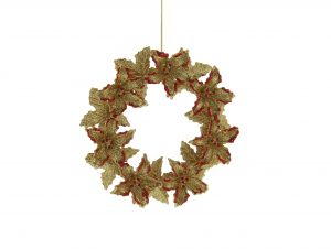 Festive 14cm Gold And Red Wreath Decoration