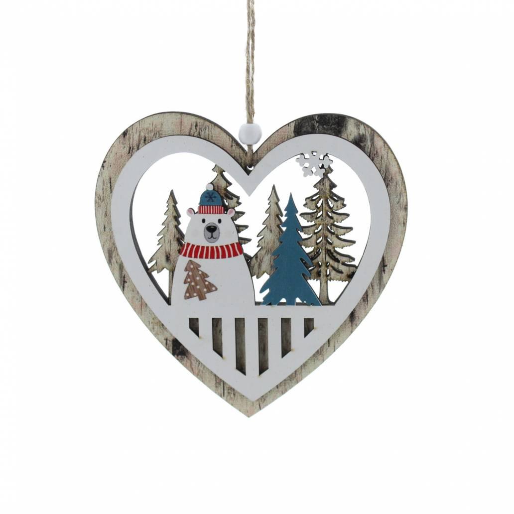 Festive 13cm Polar Bear In Heart