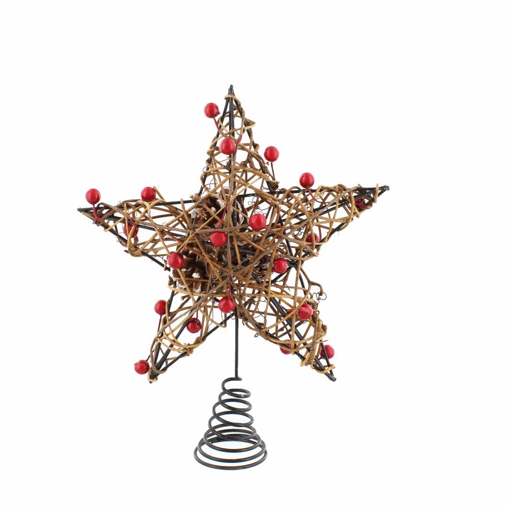 Festive 24cm Tree Topper With Berries