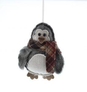 Festive 16cm Plush Penguin Hanging Decoration