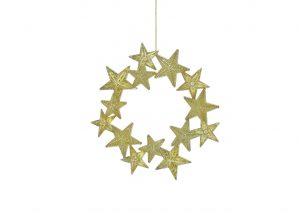 Festive 14cm Gold Glitter Star Wreath