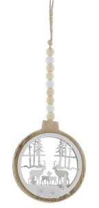 Festive 28cm Wooden Round Disc With Reindeer