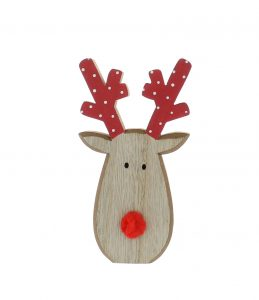 Festive 16cm Wooden Reindeer With Pom Pom Nose