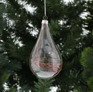Festive 11cm Glass Drop With Red Berries