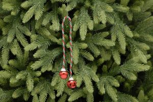 Festive 40cm Green And Red Stripe String With Red Bells