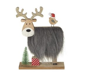 Heaven Sends Wooden Reindeer With Fur Body And Robin
