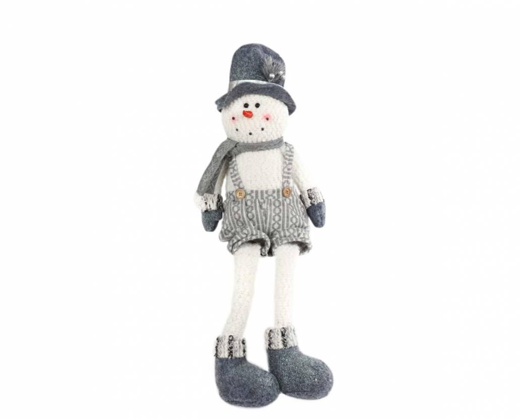 Mercer 70cm Silver/Grey Sitting Snowman