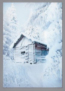 Premier 210x145cm Snowy Cabin Back Drop 100% Waterproof Polyester