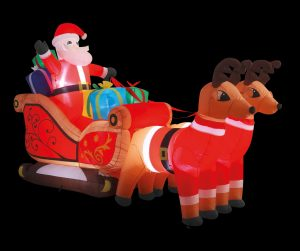 Premier 3m Inflatable Santa in Sleigh with Reindeers