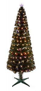 Premier 1.8M Slim Black Fibre Optic Tree With Multi Action Warm White LED Stars