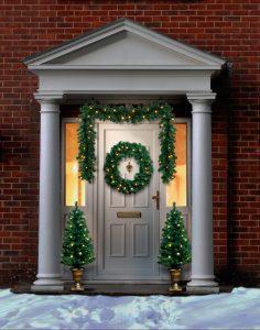 Premier Christmas Door Set In Out Door Pre Lit Trees Wreath Garland