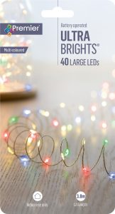 Premier 40L Battery Operated Indoor UltraBrights LED Wire Lights - Multi Coloured