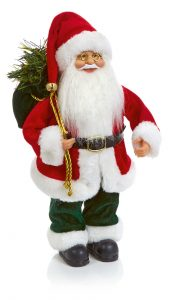 Premier 30cm Standing Santa With Sack Red-Green