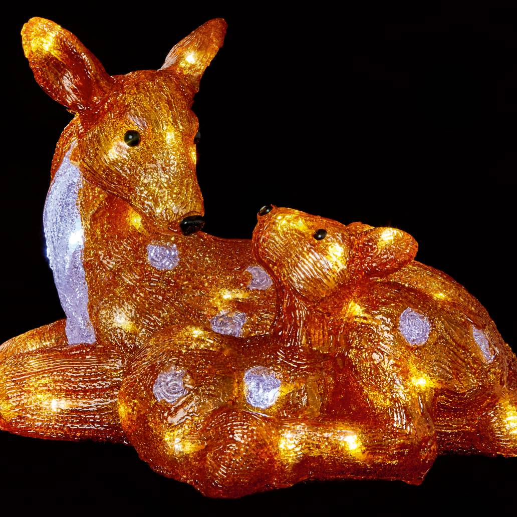 Premier 30cm Acrylic Mother and Baby Deer with 40 White LED