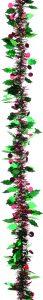Festive 200cm X 8.5cm Green Holly / Red Berry Tinsel