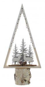 Festive 29cm Wooden Laser Cut Tree Shape With Reindeer