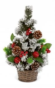 Premier 45cm Snow Tipped Berry & Cone Tree in Pot