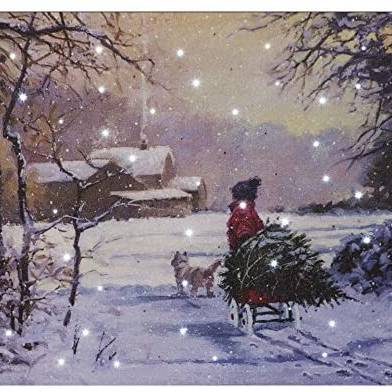 SnowTime Battery Operated Fibre Optic 40x30cm 'Child Pulling a Sleigh' LED Canvas