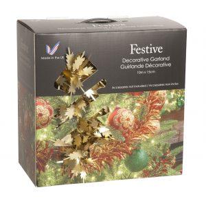 Festive 10m x 14cm large champagne fern leaf tinsel in carry box