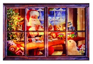 90x60cm Outdoor Santa Working Soft Glow Canvas w-Timer