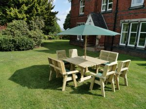 POPPY SET 8 -  4 CHAIRS + 2 BENCHES - SEATS 8
