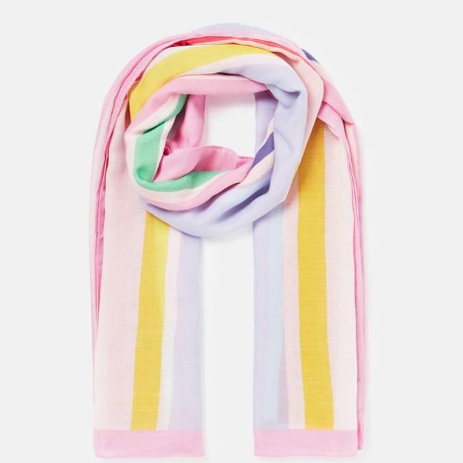 Joules River Printed Scarf - Pink Multi Stripe
